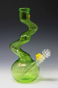 "Sour 12"" skinny twist lime green water pipe"